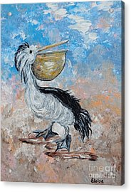 Acrylic Print featuring the painting Pelican Beach Walk - Impressionist by Eloise Schneider