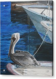 Acrylic Print featuring the painting Pelican On A Boat by Ian Donley