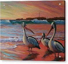 Pelican Sunset Acrylic Print by Kathy  Karas