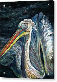 Acrylic Print featuring the painting Pelican by Xueling Zou