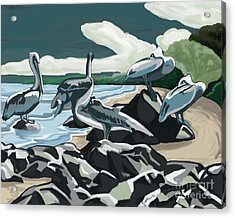 Acrylic Print featuring the painting Pelicans And Friends At Seashore by Tim Gilliland