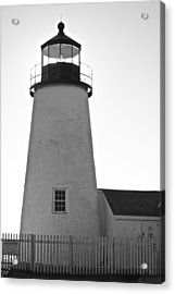 Acrylic Print featuring the photograph Pemaquid Lighthouse Black And White by Amazing Jules