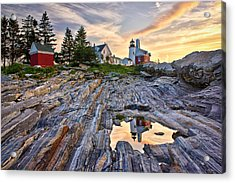 Pemaquid Lighthouse Reflection Acrylic Print by Benjamin Williamson