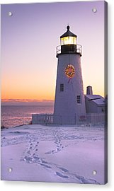 Pemaquid Point Lighthouse Christmas Snow Wreath Maine Acrylic Print