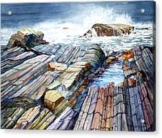 Acrylic Print featuring the painting Pemaquid Rocks by Roger Rockefeller
