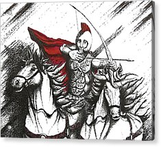 Pen And Ink Drawing Of Soldier With Horses Acrylic Print by Mario Perez