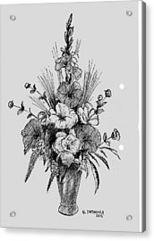 Pen And Ink Flowers Acrylic Print