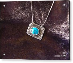 Pendant With Turquoise Acrylic Print by Patricia  Tierney