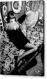 Penelope Tree Sitting On A Paisley Couch Acrylic Print by Arnaud de Rosnay
