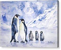 Acrylic Print featuring the painting Penguin Family by Faruk Koksal