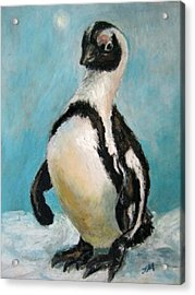 Acrylic Print featuring the painting Penguin by Jieming Wang