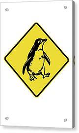 Penguin Warning Sign, Australia Acrylic Print