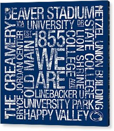 Penn State College Colors Subway Art Acrylic Print by Replay Photos