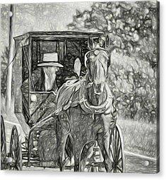 Pennsylvania Amish 2 -  Bw Acrylic Print
