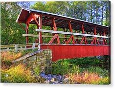Pennsylvania Country Roads - Colvin Covered Bridge Over Shawnee Creek - Autumn Bedford County Acrylic Print