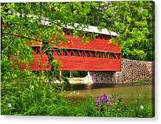 Pennsylvania Country Roads - Sachs Covered Bridge Over Marsh Creek-3b - Shade Of Spring Adams County Acrylic Print