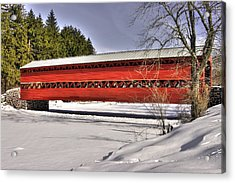 Pennsylvania Country Roads - Sachs Covered Bridge Over Marsh Creek B1 - Adams County Winter Acrylic Print