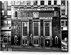 Pennsylvania Railroad Suburban Station In Black And White Acrylic Print by Bill Cannon