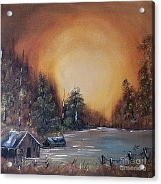 Pennsylvania Shenango Dawn In Oil Acrylic Print by Janice Rae Pariza