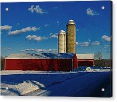 Pennsylvania Winter Red Barn  Acrylic Print by David Dehner