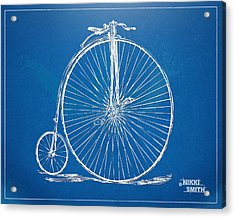 Penny-farthing 1867 High Wheeler Bicycle Blueprint Acrylic Print by Nikki Marie Smith