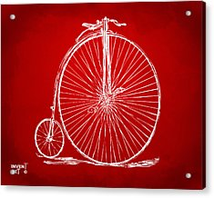 Penny-farthing 1867 High Wheeler Bicycle Patent Red Acrylic Print by Nikki Marie Smith
