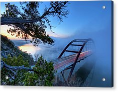 Pennybacker Bridge In Morning Fog Acrylic Print