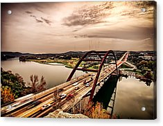 Pennybacker Bridge Sunset Acrylic Print by John Maffei