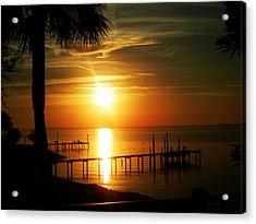 Pensacola Bay Sunrise Acrylic Print by Shelly Grobstig
