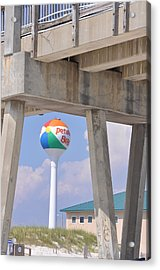 Pensacola Beach Ball And Pier Acrylic Print