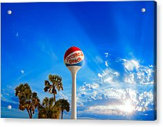 Acrylic Print featuring the photograph Pensacola Beach Ball Water Tower And Palm Trees by Eszra