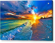 Pensacola Florida-beach Waves-sun Burst Shoreline Acrylic Print by Eszra Tanner