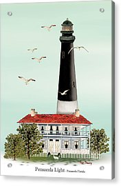 Pensacola Light House Acrylic Print by Anne Beverley-Stamps