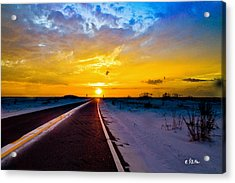 Acrylic Print featuring the photograph Pensacola Navarre Florida National Sea Shore-driving Into Sunset by Eszra Tanner