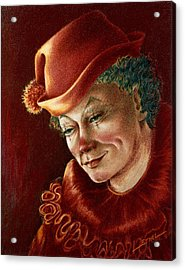 Pensive Clown Acrylic Print by Ethel Quelland