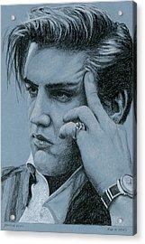 Pensive Elvis Acrylic Print by Rob De Vries