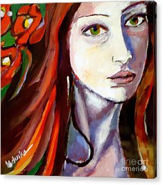 Acrylic Print featuring the painting Pensive Lady by Helena Wierzbicki