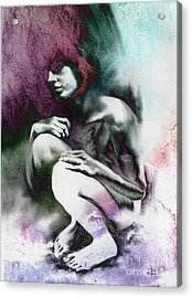 Acrylic Print featuring the drawing Pensive With Texture by Paul Davenport
