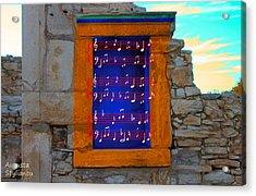 Pentagram Window At Apollo Acrylic Print by Augusta Stylianou
