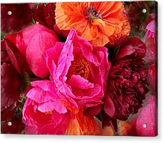 Peonies And Poppies Vibrant Bouquet Acrylic Print