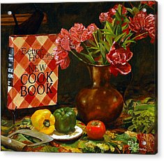 Acrylic Print featuring the painting Peonies And Recipes by Rick Fitzsimons