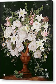 Peonies And Wisteria Acrylic Print by Lizzie Riches