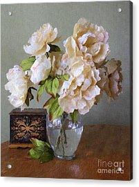 Peonies In Glass Vase Acrylic Print