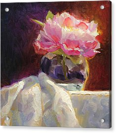 Peony Glow - Square Still Life Acrylic Print by Karen Whitworth