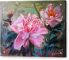 Acrylic Print featuring the painting Peony by Jieming Wang