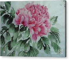 Acrylic Print featuring the painting Peony425012-9 by Dongling Sun