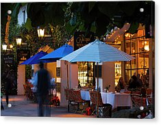 People At Cafe Along State Street Acrylic Print by Panoramic Images
