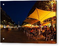 People At Sidewalk Cafes In A City Acrylic Print by Panoramic Images