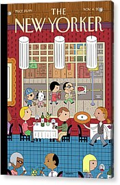 People Enjoying Dinner In The City Acrylic Print by Ivan Brunetti