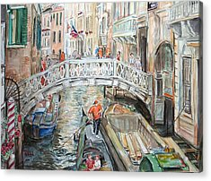 People In Venice Acrylic Print by Becky Kim